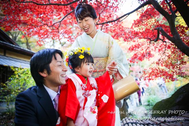 【三渓園編】手づくりかんざしと、生花コサージュで七五三写真撮影