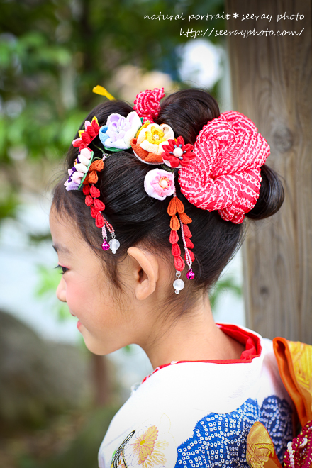 七五三 出張撮影【伊勢山皇大神宮】<br>髪飾りは夏休みの自由研究で!