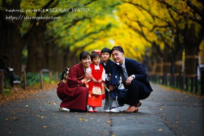 七五三出張撮影「イチョウ並木ロケ+神社プラン」が人気です<br>紅葉シーズン到来!